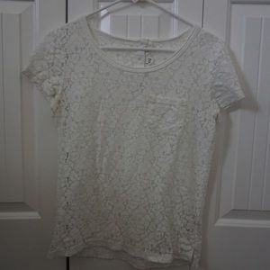 Sheer Lace Short Sleeve H&M Top